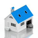 Insurance home, house, life, car protection. Buying house and car for family icon. Protect people Concepts. 3D illustration. Icon. For the web site of the bank Royalty Free Stock Photography