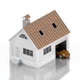 Insurance home, house, life, car protection. Buying house and car for family icon. Protect people Concepts. 3D illustration. Icon. For the web site of the bank Stock Photo