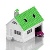 Insurance home, house, life, car protection. Buying house and car for family icon. Protect people Concepts. 3D illustration. Icon Stock Photos