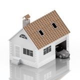 Insurance home, house, life, car protection. Buying house and car for family icon. Protect people Concepts. 3D illustration. Icon Royalty Free Stock Photos