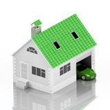 Insurance home, house, life, car protection. Buying house and car for family icon. Protect people Concepts. 3D illustration. Icon Royalty Free Stock Photography