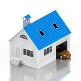 Insurance home, house, life, car protection. Buying house and car for family icon. Protect people Concepts. 3D illustration. Icon. For the web site of the bank Royalty Free Stock Photo