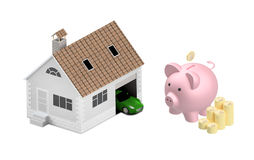 Insurance home, house, life, car protection. Buying house and ca. Buying house and car for family icon. Concept. 3D illustration. Icon for the web site of the Royalty Free Stock Photos