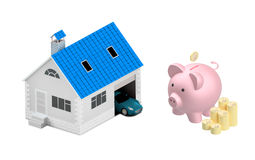 Insurance home, house, life, car protection. Buying house and ca. Buying house and car for family icon. Concept. 3D illustration. Icon for the web site of the Royalty Free Stock Images