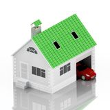 Insurance home, house, life, car protection. Buying house and car for family icon. Protect people Concepts. 3D illustration. Icon. For the web site of the bank Stock Images