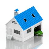 Insurance home, house, life, car protection. Buying house and car for family icon. Protect people Concepts. 3D illustration. Icon Stock Photography