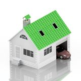 Insurance home, house, life, car protection. Buying house and car for family icon. Protect people Concepts. 3D illustration. Icon Stock Image