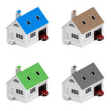 Insurance home, house, life, car protection. Buying house and car for family icon. Protect people. Concepts. 3D illustration. Icon Stock Photo