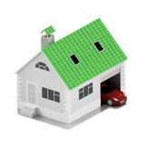 Insurance home, house, life, car protection. Buying house and car for family icon. Protect people. Concepts. 3D illustration. Icon Stock Image