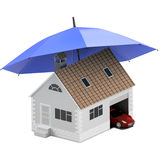 Insurance home, house, life, car protection. Buying house and car for family icon. Protect people Concepts. 3D illustration. Icon Royalty Free Stock Photo