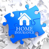 Insurance - Home Icon on Blue Puzzle. Stock Images