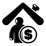 Insurance home icon, simple black style. Insurance home icon. Simple illustration of insurance home vector icon for web Royalty Free Stock Image