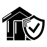 Insurance home icon, simple black style. Insurance home icon. Simple illustration of insurance home vector icon for web Royalty Free Stock Photography