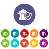 Insurance home icons set vector color. Insurance home icons color set vector for any web design on white background Royalty Free Stock Photography