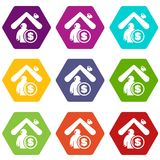 Insurance home icons set 9 vector. Insurance home icons 9 set coloful isolated on white for web Royalty Free Stock Images