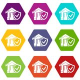 Insurance home icons set 9 vector. Insurance home icons 9 set coloful isolated on white for web Stock Photos