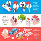 Insurance Horizontal Banners. On healthcare banking property keeping life contract themes isometric vector illustration Stock Photos
