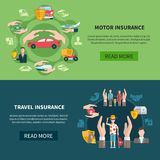 Insurance Horizontal Banners. Set of horizontal banners with transport and travel insurance including medical care for tourists isolated vector illustration Royalty Free Stock Photos