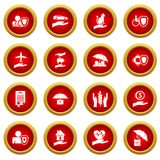 Insurance icon red circle set Royalty Free Stock Images