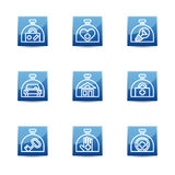 Insurance icon set on the blue square buttons. Stock Images