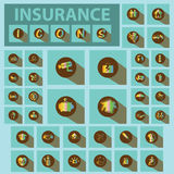 Insurance icon and shadow. Insurance icon Iridescent tones on green color background Royalty Free Stock Photography