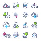 Insurance icon vector life or health ensurance logo and insurant family or house protection illustration set of insurer. Logotype isolated on white background Royalty Free Stock Images