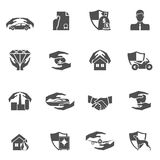 Insurance icons black. Insurance security icons black set of real estate property health car protection isolated vector illustration Stock Images