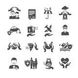 Insurance Icons Black Set Royalty Free Stock Photo