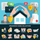 Insurance Icons Collection. Including medical care, travel, transportation, property against fire and flood isolated vector illustration Stock Photo