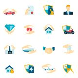 Insurance icons flat. Insurance security icons flat set of medical property house protection isolated vector illustration Royalty Free Stock Photo
