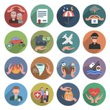 Insurance Icons Flat Set. With natural disasters health and property protection symbols isolated vector illustration Stock Image