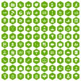 100 insurance icons hexagon green Stock Photography