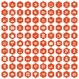 100 insurance icons hexagon orange. 100 insurance icons set in orange hexagon isolated vector illustration Stock Image