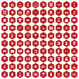 100 insurance icons hexagon red. 100 insurance icons set in red hexagon isolated vector illustration Stock Photography