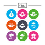 Insurance icons. Life, Real estate and House. Stock Photo
