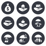 Insurance icons. Life, Real estate and House Stock Photos