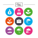 Insurance icons. Life, Real estate and House. Stock Images