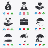 Insurance icons. Life, Real estate and House Stock Images