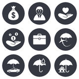 Insurance icons. Life, Real estate and House Stock Photography