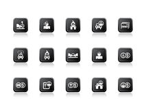 Insurance icons orange Stock Photo