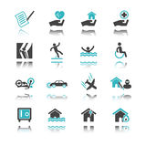 Insurance icons with reflection Royalty Free Stock Image