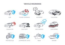 Vehicle insurance icons Royalty Free Stock Photos