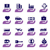 Insurance icons set Royalty Free Stock Photos