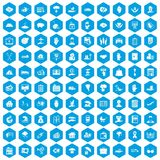 100 insurance icons set blue. 100 insurance icons set in blue hexagon isolated vector illustration vector illustration