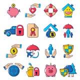 Insurance icons set, cartoon style Royalty Free Stock Images