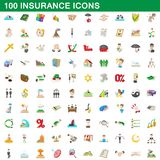 100 insurance icons set, cartoon style. 100 insurance icons set in cartoon style for any design illustration royalty free illustration