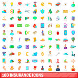 100 insurance icons set, cartoon style. 100 insurance icons set in cartoon style for any design vector illustration Stock Photos