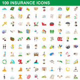 100 insurance icons set, cartoon style Royalty Free Stock Photos