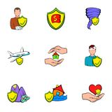 Insurance icons set, cartoon style. Insurance icons set. Cartoon illustration of 9 insurance vector icons for web Stock Images
