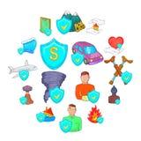 Insurance icons set, cartoon style. Insurance icons set in cartoon style isolated on white background Royalty Free Stock Image